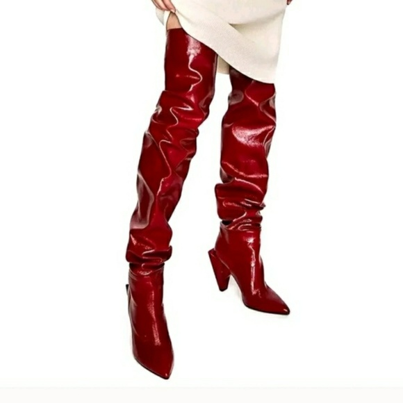 40cea2f61d1 Zara Red Patent Leather Over The Knee Boots